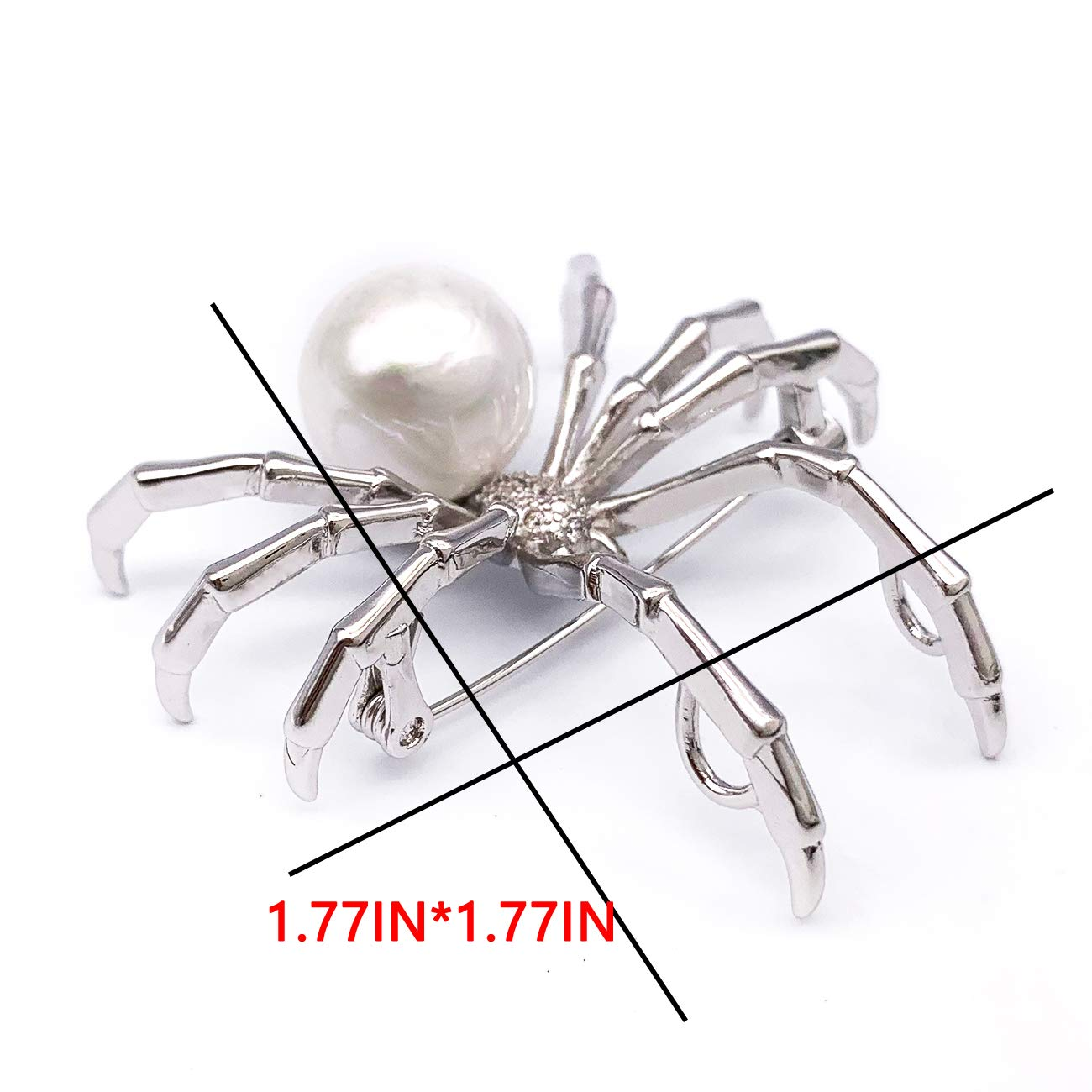 XGALBLA Realistic Simulated Pearl Cubic Zircon Animal Insect Spider Brooch Pins