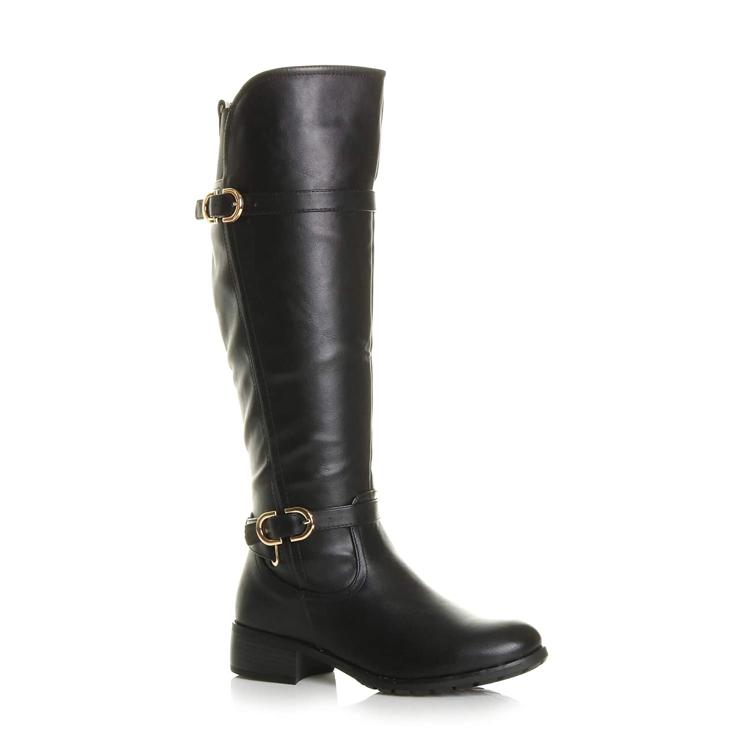 3b4d501b4bf99a Ajvani Womens Ladies Low Heel Flat Stretch Wide Calf Zip Buckle Strap Riding  Biker Boots Size: Amazon.co.uk: Shoes & Bags