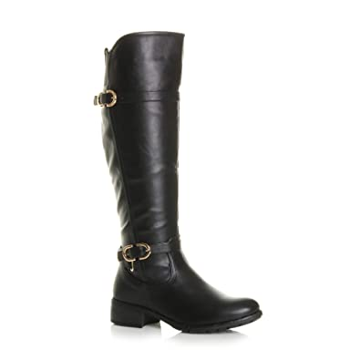 250c60be826 Ajvani Womens Ladies Low Heel Elastic Stretch Buckle Calf Riding Biker Boots  Size 3 36