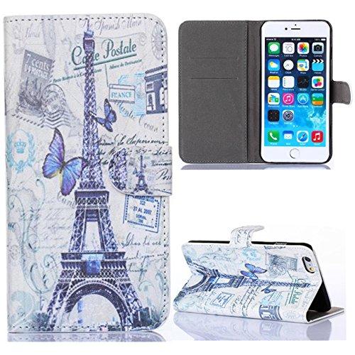 For Apple Iphone 6 4.7 Case, IVY - Paris Eiffel Tower Fashion Magnetic Snap Wallet Flip PC Case Leather With Stand Cover Case For Apple Iphone 6 4.7 Case-B
