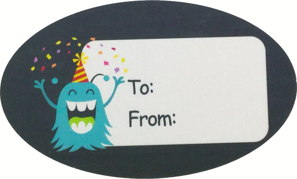 Monster Birthday Gift Tag Stickers 1 1/2 x 2 1/2 Inch 100 Adhesive Labels by InStockLabels.com (Image #6)