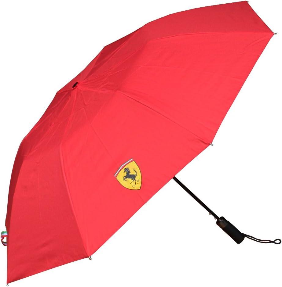Ferrari Red Shield Compact Travel Umbrella w//Scuderia Ferrari Print When Wet