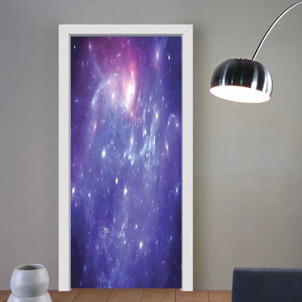 Gzhihine custom made 3d door stickers Purple Space Nebula Gas Cloud of Dust Spiral Expanse Planet System Theme Art Print Home Decor Navy Purple For Room Decor 30x79