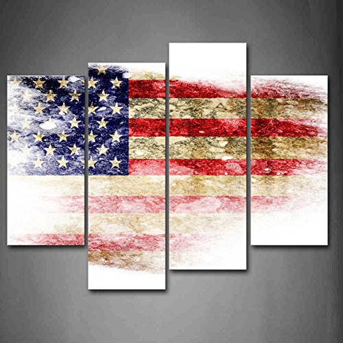 First Wall Art - American Flag With Stars In White Blu And R