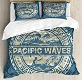 Modern Bedding Sets, Pacific Waves Surf Camp and School Hawaii Logo Motif with Artsy Effects Design, 4 Piece Duvet Cover Set Bedspread for Childrens/Kids/Teens/Adults, Khaki Slate Blue,Twin Size