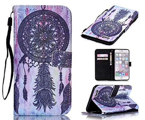 iPhone 6S Plus Case, iPhone 6 Plus Case, Welity Vintage Dream Catcher [ Wristlet ][ Kickstand ] PU Leather Clutch Pouch Wallet [Credit Card/Cash Slots] Flip Cover for iPhone 6/6S Plus