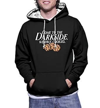 0c9e4ca5 Amazon.com: HAASE UNLIMITED Men's Come to The Darkside, We Have Cookies Two  Tone Hoodie Sweatshirt: Clothing