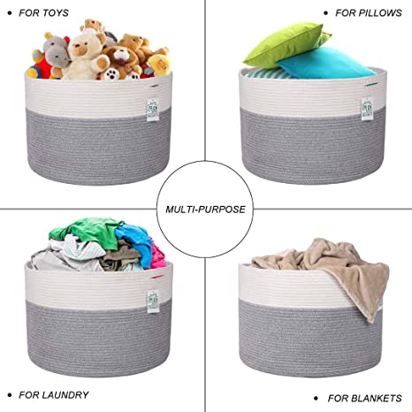 KHORE Extra Large Cotton Rope woven Basket 20 x 14 Storage Basket with Handles Collapsible Cotton Rope for Bathroom,Bedroom,Nursery,Toys,Clothes,Blankets Whtie
