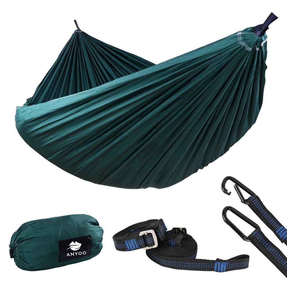 anyoo超軽量強力なキャンプハンモック| multiple-use Easy to Carryナイロンパラシュート生地2 xプレミアムカラビナ入り2 xナイロンストラップ含ま| forアウトドアインドアGarten B075CKDVW8 New (forest green)