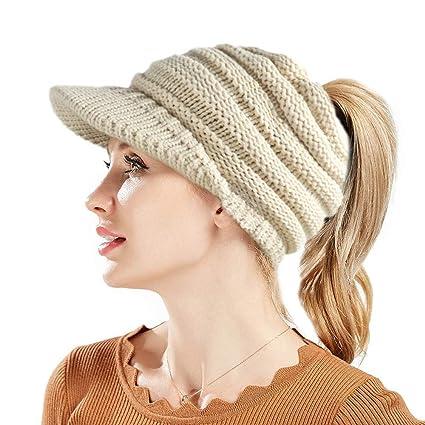 e47a1690b60 KelaSip Beanie Tail Warm caps Women Ponytail Messy Bun Ribbed Baseball CC  Hat(Cream-