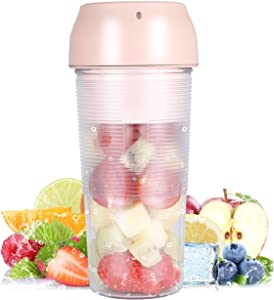 Protable Size Blender,Cordless Juicer Cup,Mini Blender for Shakes and Smoothies, Personal Blender with Rechargeable USB, Made with BPA-Free Material Portable Juicer, for Home,Office,Sports,Travel,Outdoors,School(Pink)