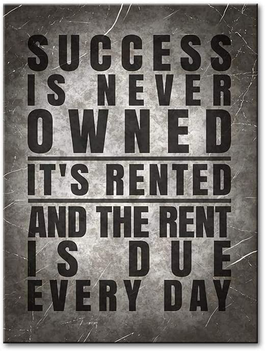 YGYT Quote Canvas Wall Art of Success Is Never Owned Black and White Painting on Canvas for Home Living Room Unframed 24x32inches