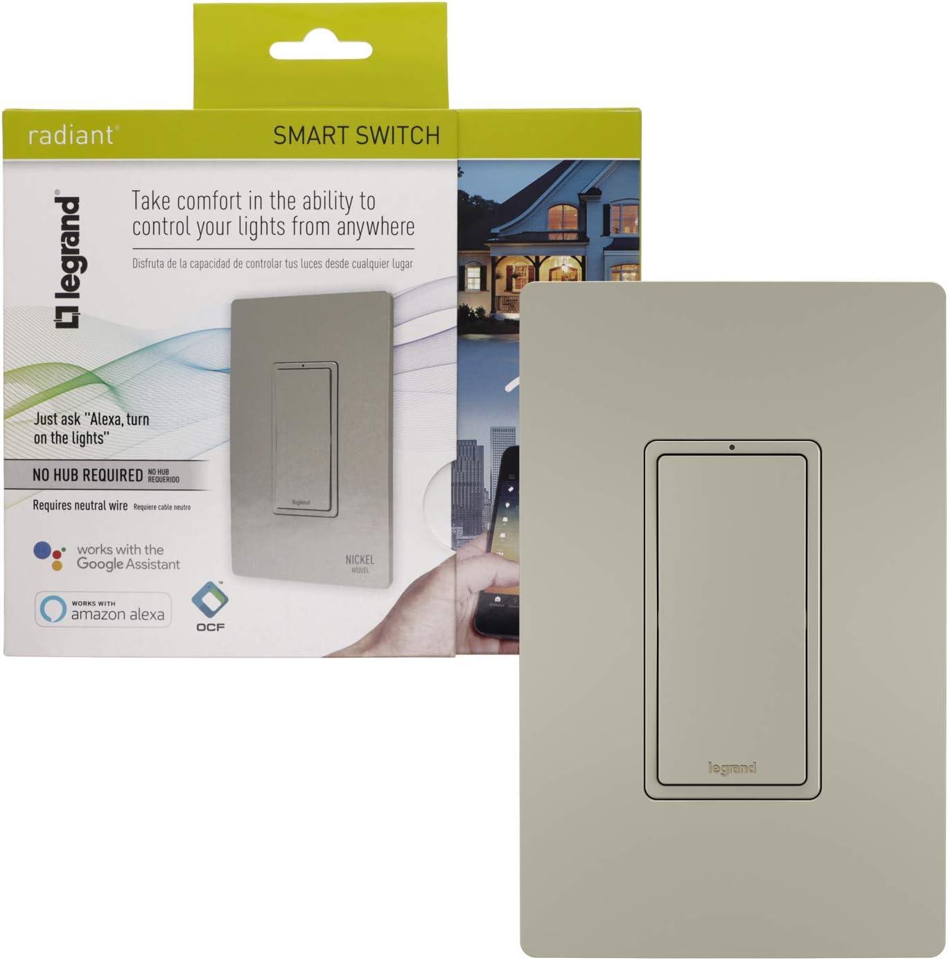 Legrand - Pass & Seymour Radiant WWRL10NICCV2 Enabled, Nickel Smart Wi-Fi Switch