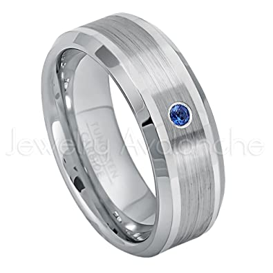 0 07ct Blue Sapphire Solitaire Tungsten Ring 8mm Comfort Fit