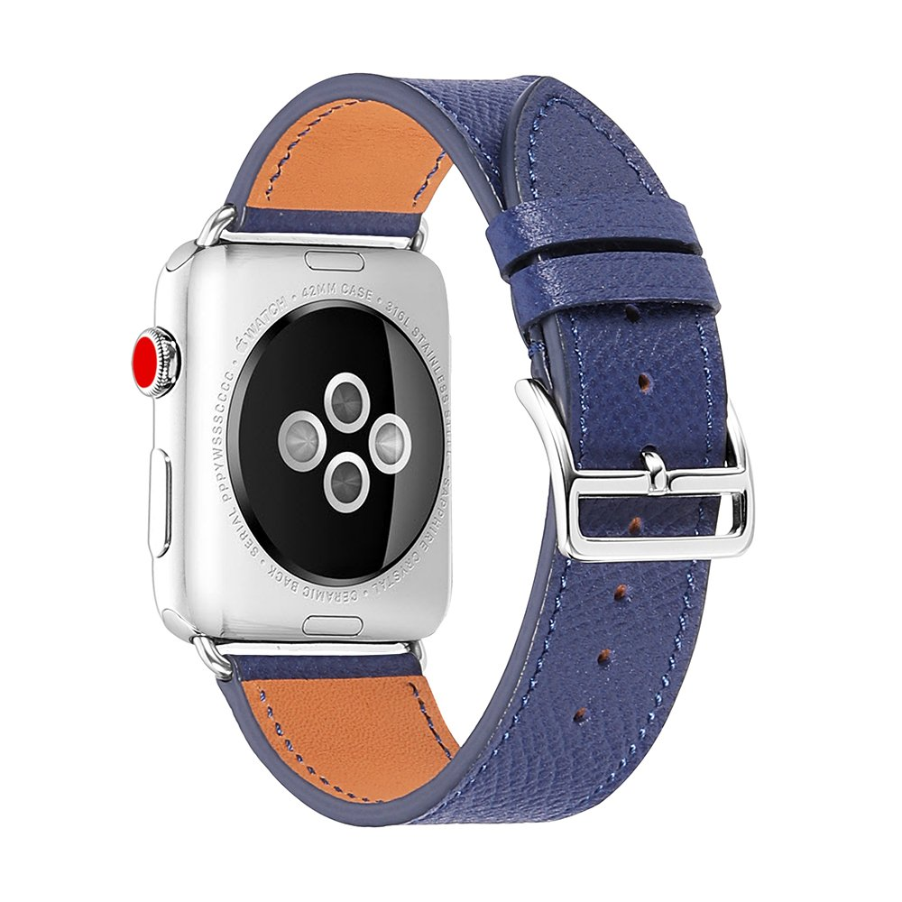 for Apple Watch, 38mm 42mm Genuine Leather iwatch Strap Replacement Band with Metal Clasp Adapter for Series 3/2/1 Sport and Edition Navy Blue CHIMAERA