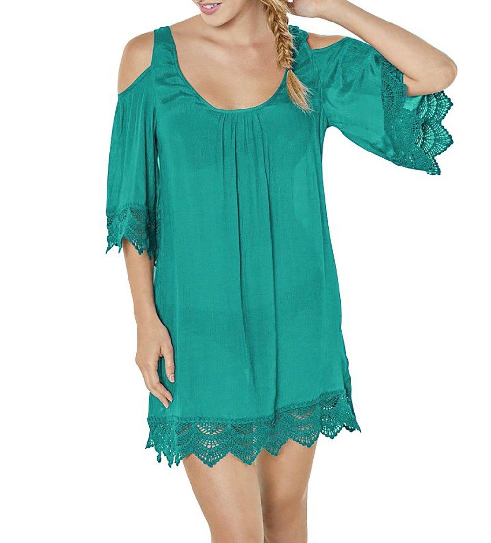 Bestyou Women's Rayon Bathing Suit Cover up Tunic Tops Cutout Shoulder Shirts Beachwear Swimwear (Lake Green)