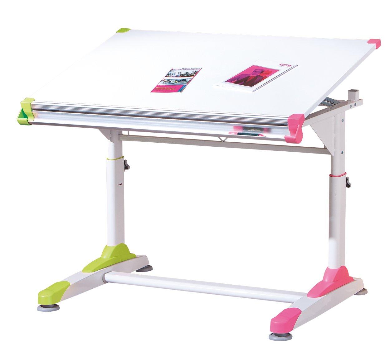 selección larga Links 50900440 2 Colorido - Escritorio Escritorio Escritorio infantil (tablero de densidad media y metal, 100 x 66 x 69-84 cm), color blanco, rosa y verde  nuevo listado