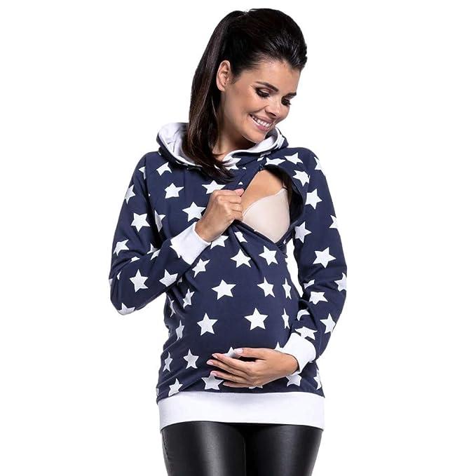 Longra ☂☂ ☂☂ ☂☂❤ ❤ Blusa Conveniente para amamantar de Las Mujeres, Sudadera con Capucha de Invierno Star Impreso Outwear Tops: Amazon.es: Ropa y ...