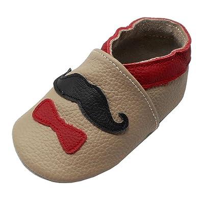 Yalion Chaussures Bébé - Chaussons Bébé Cuir Souple - Bébé Fille Garçon Chaussons Premiers Pas