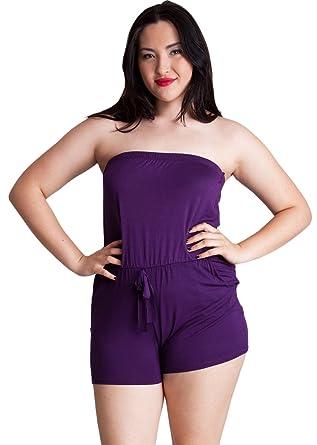 dc1e8f6e800 Woman Purple Plus Size Front-Tie Strapless Tube Romper  Amazon.co.uk   Clothing