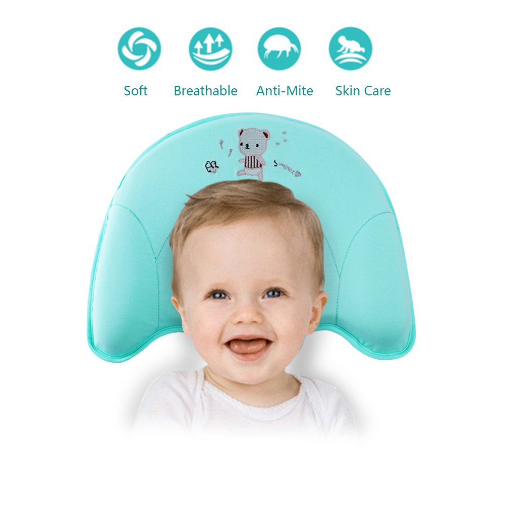Baby Pillow for Sleeping,Soft Breathable Neck Support, Prevent Flat Head for Infant (0-12) Months Pillowcase is Included (Green)