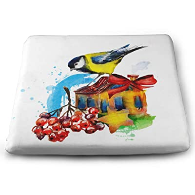Tinmun Square Cushion, Watercolor Bird Winter House Beautiful Large Pouf Floor Pillow Cushion for Home Decor Garden Party: Home & Kitchen