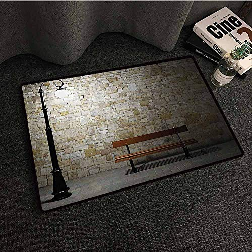 (Street Decor Front Door Mat Large Outdoor Indoor Modern Avenue at Dark Night with a Open Lamp and Bench and Stone Wall Behind Image Super Absorbent mud W20 xL31 Multi)