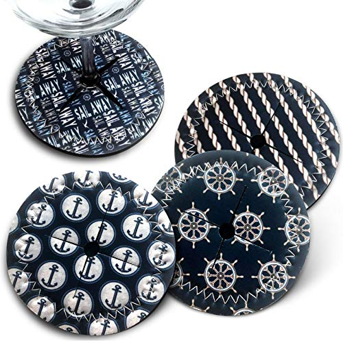 """Metal Case Set Coaster - Wine Glass Coaster Slip On - Set of 4 Non-Slip Absorbent Coasters for Drinks 