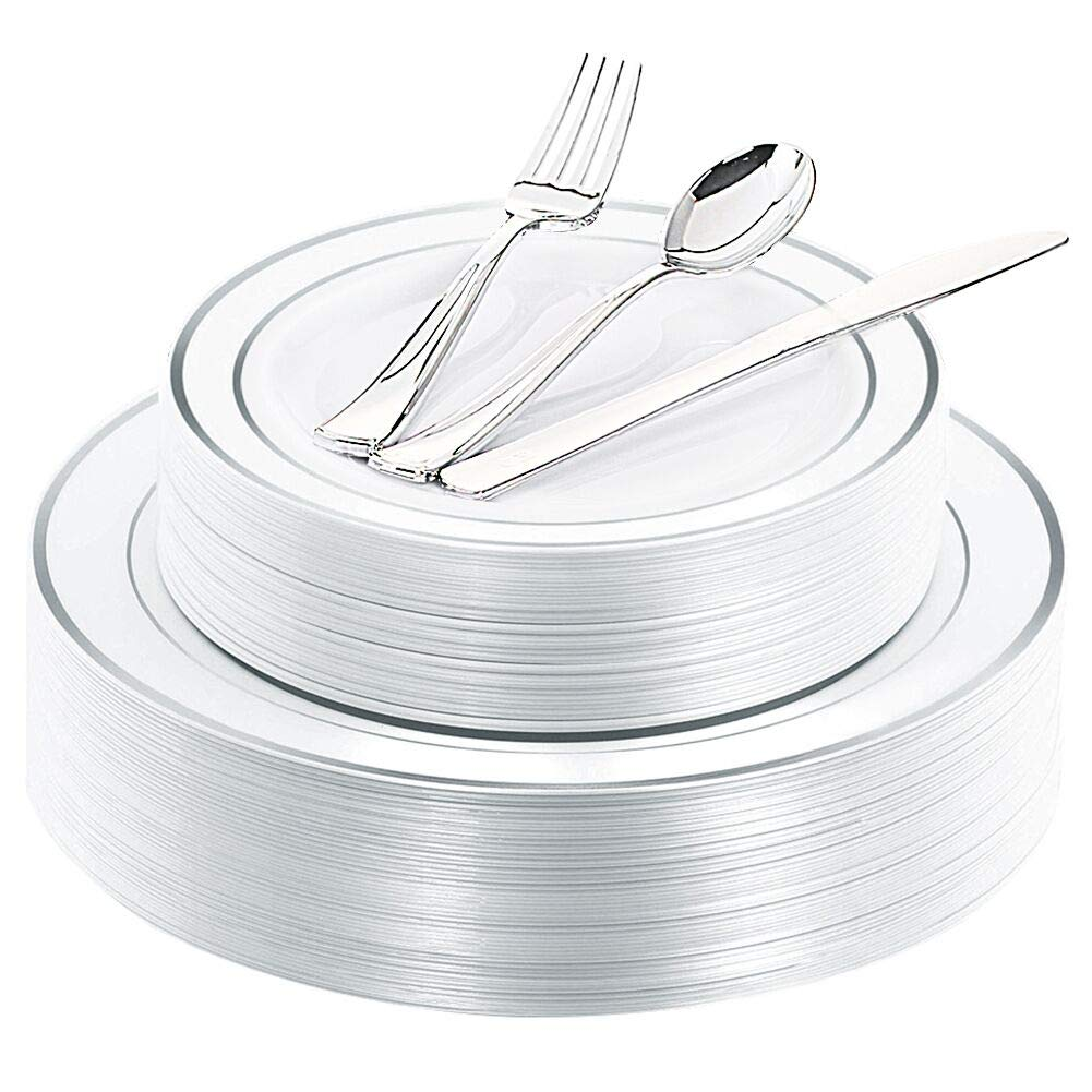 WDF 40Guest Silver Plastic Plates with Disposable Plastic Silverware- Plastic Tableware sets include 40 Dinner Plates, 40 Salad Plates,40 Forks, 40 Knives, 40 Spoons by WDF