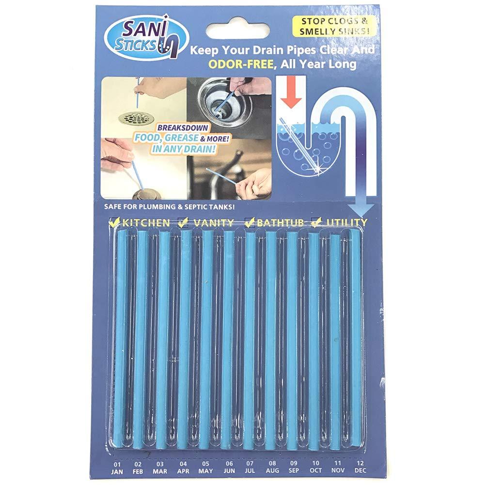 12pc / Set Sticks Sani Tuyau Baignoire Décontamination Nettoyage de bâton d'égout Rod Bathtub Drain Cleaner Toilettes Nettoyage de bâton (Saveur Blue Ocean) Rocita