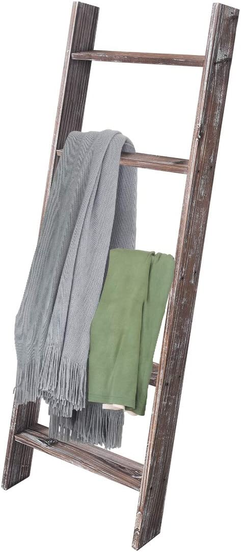 Rose Home Fashion RHF Decorative Blanket Ladder,Rustic Blanket Ladder,4.5ft Blanket Ladders,Rustic Wood Ladder,Farmhouse Blanket Ladder, Storage Ladder Quilt Rack, Assembly Required, 4.5-Feet,Brown