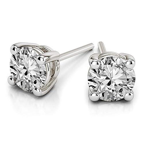 Dazzlingrock Collection 14K 5 MM Each Cushion Cut Gemstone Round Diamond Ladies Dangling Drop Earrings, Yellow Gold
