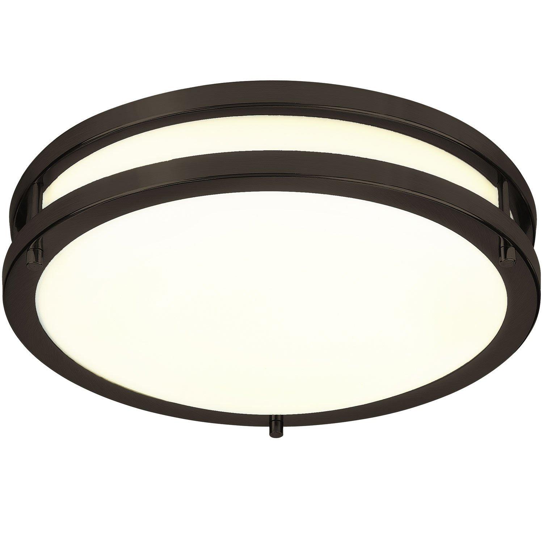 Green Beam Energy Efficient 12-Inch LED Flush Mount Ceiling Light, Perfect for Kitchen, Office, Living Room   Oil Rubbed Bronze, 3000K Warm White, 15 Watt-1050 Lumens, Dimmable