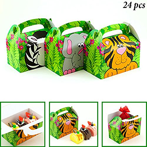Monkey Jungle Animal (Adorox 24 Pack Zoo Animal Cardboard Treat Box Children Birthday Party Goody Bags Treat Boxes (Assorted (24 Animal Boxes))