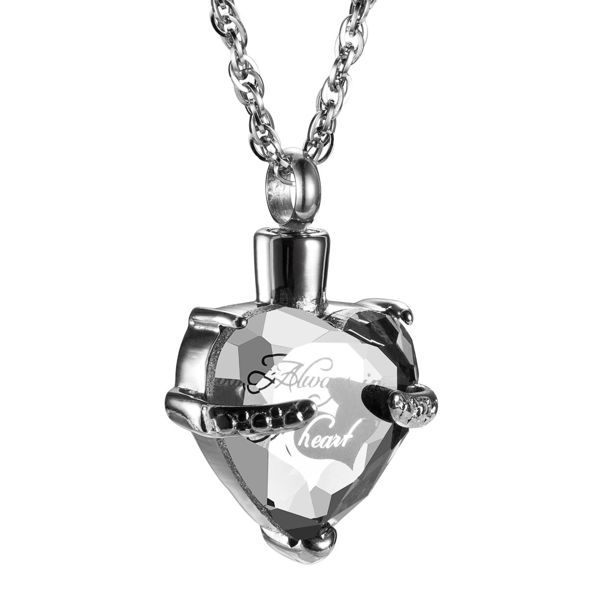 Always in My Heart with Crystal Glass Cremation Jewelry Urn Necklace Memorial-Ashes Holder Keepsake by AMIST (April)