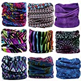 KALILY 9PCS Headband Bandana - Versatile Sports Headwear –Multifunctional Seamless Neck Gaiter, Headwrap, Balaclava, Helmet Liner, Face Mask for Camping, Running, Cycling (9PCS- C Set)