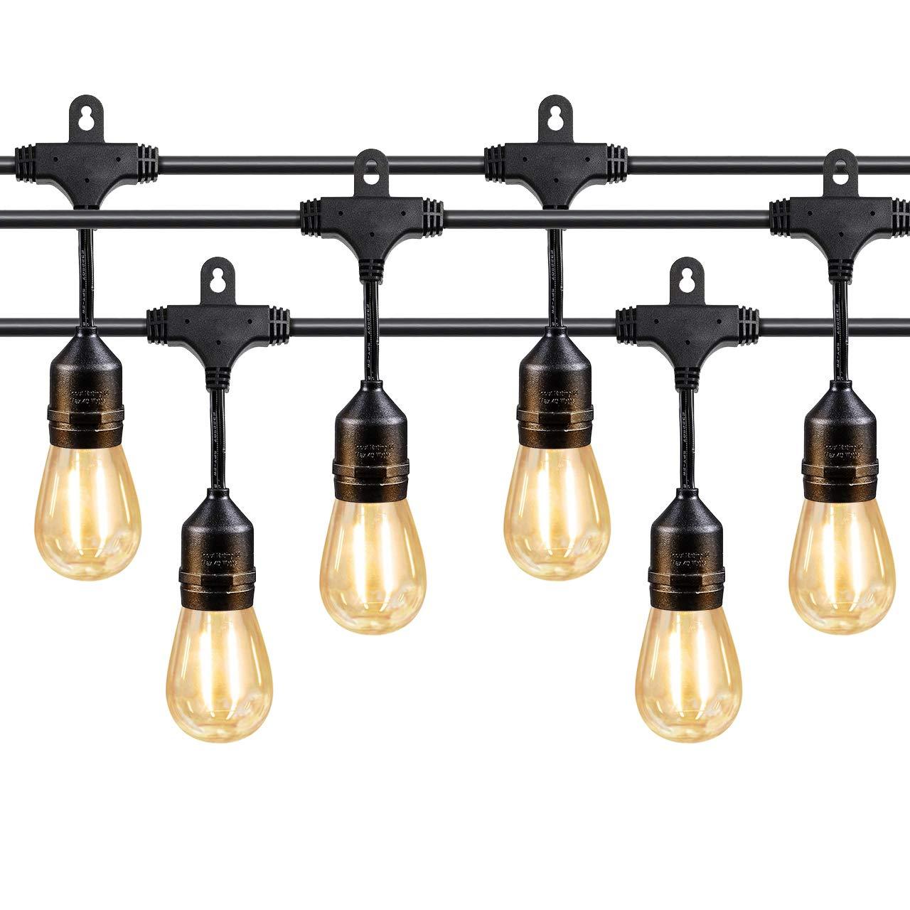 Teletrogy 48FT IP65 Weatherproof LED Outdoor String Lights UL Listed Vintage Hanging Edison Bulbs Heavy Duty Commercial Grade Patio/Gazebo Lights 16 x S14 2W LED Bulbs –Black