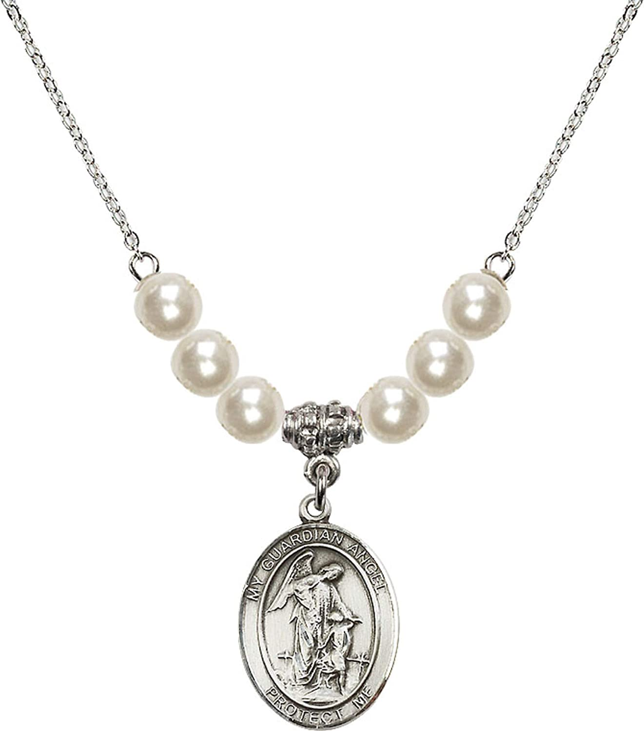 18-Inch Rhodium Plated Necklace with 6mm Faux-Pearl Beads and Sterling Silver Guardian Angel w//Child Charm.