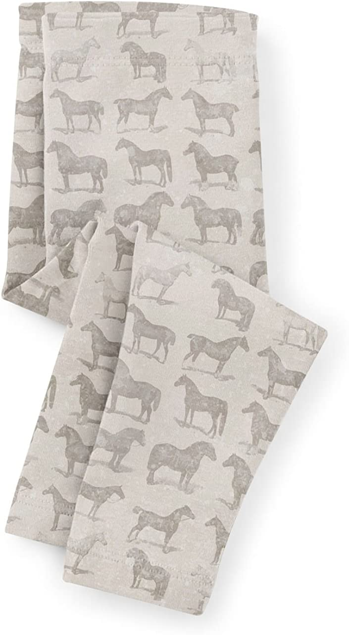 Vintage Horses Pattern on Grey Kids Leggings