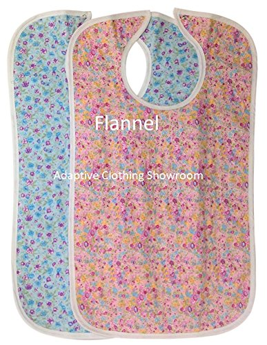 Quilted Washable Adult Bib with Snap Closure-Assorted Prints-2 per Package (Berry Bush (Bush Bib)