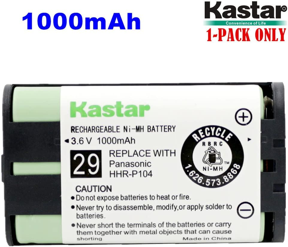 Kastar HHR-P104 Battery, Type 29, NI-MH Rechargeable Cordless Telephone Battery 3.6V 1000mAh, Replacement for Panasonic HHR-P104, Dantona, Energizer, GE (Detail Models in The Description)