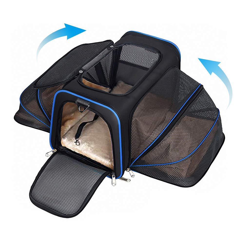 YOUTHINK Expandable Pet Carrier for Dogs and Cats, Soft Sided&Most Airline Approved, Perfect Cat Carrier with Removable Fleece Mat by YOUTHINK