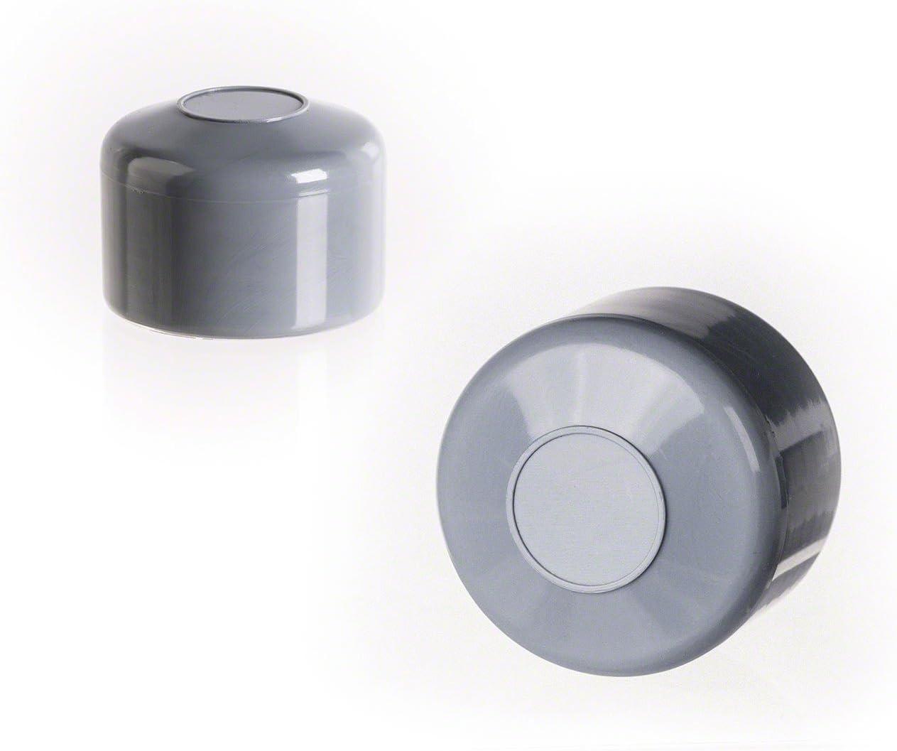 10 Stck Zaunpfahlkappe rund 42 mm Grau Kunststoff Pfostenkappen Abdeckkappen