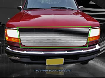AUTEX F85007H Black Aluminum Billet Main Upper Grille Insert Compatible With Ford Bronco//F150//F250//F350 F-Series Pickup 1992 1993 1994 1995 1996