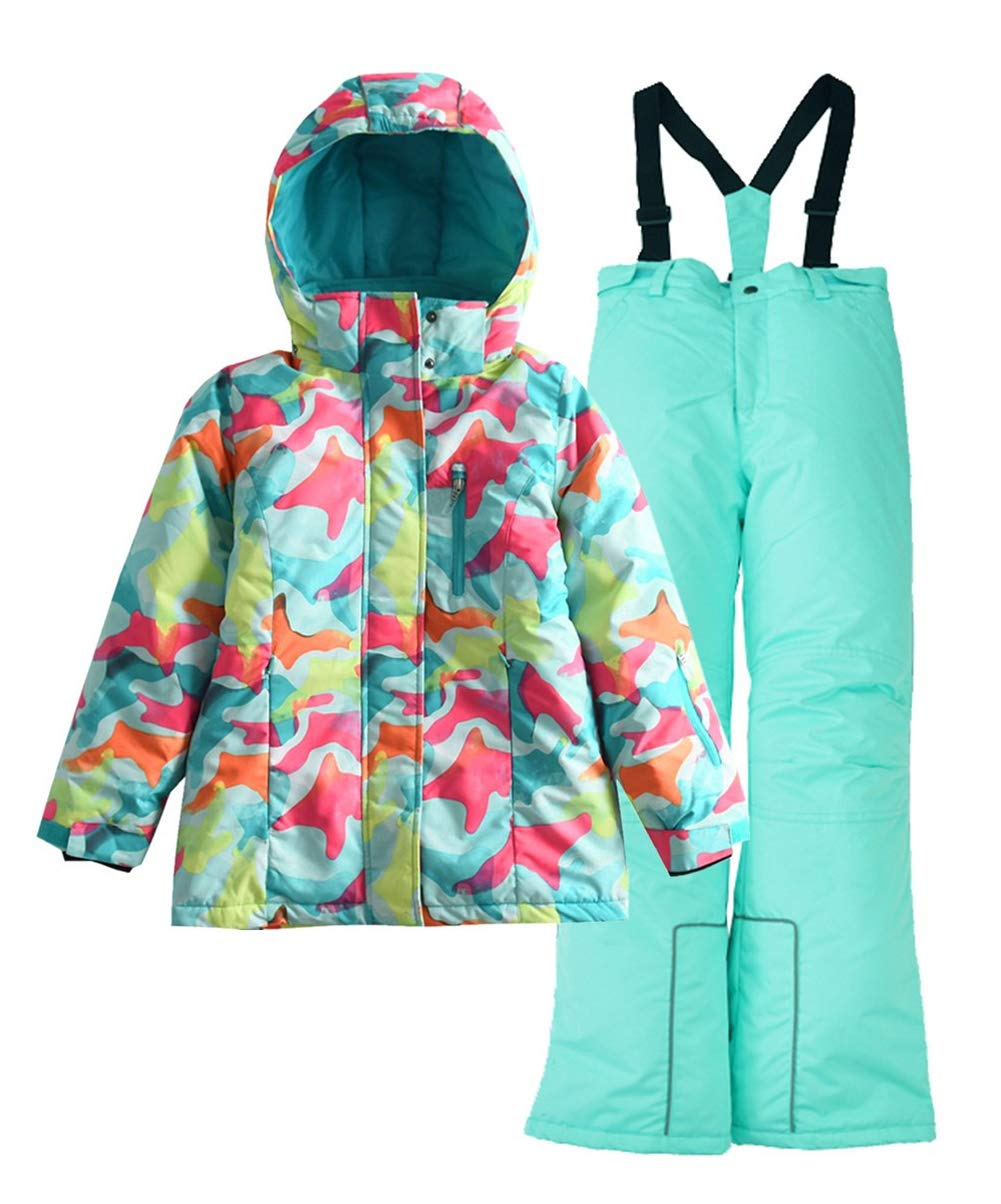 Hiheart Girls' Winter Warm Snowsuit Hooded Snowwear Jacket + Pants 2 Pcs Set (3/4, Blue) by Hiheart