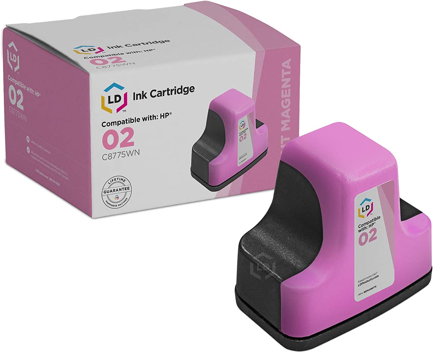 LD © Remanufactured Replacement for HP 02 / C8775WN Light Magenta Ink Cartridge for HP Photosmart Printer Series