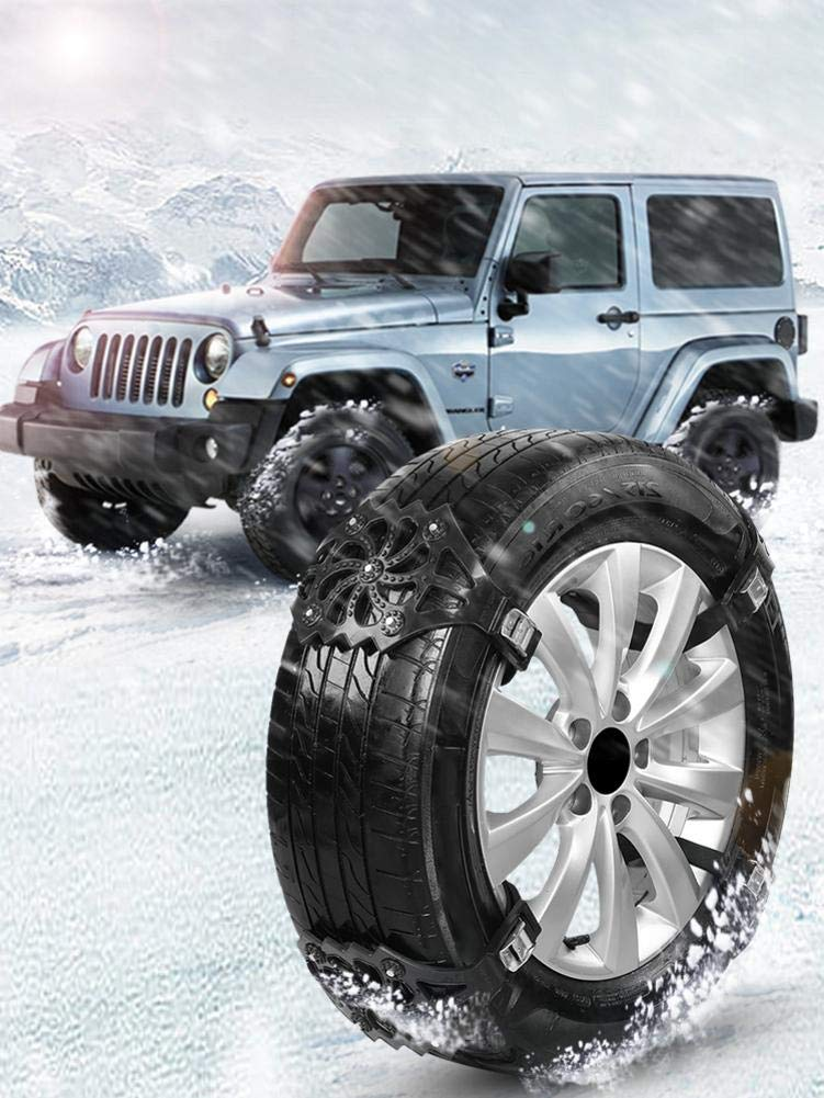 Tire Chain 8PCS Car Tyre Winter Roadway Safety Chain Adjustable Snow Anti-Skid Safety Double Snap Skid Wheel TPU Chains