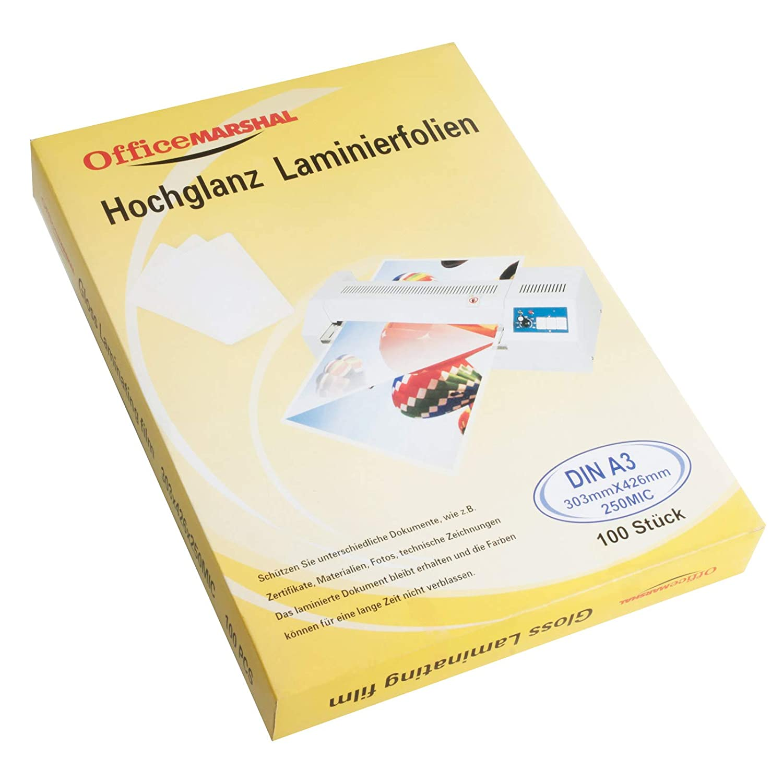 OfficeMarshal Hochglanz Laminierfolien Markenqualit/ät 100 St/ück 15 Sorten w/ählbar