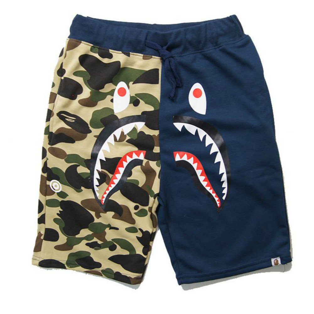 Athletic Pants Shark Pattern Camouflage Stitching Shorts Men Drawstring Sports Shorts(Blue L)
