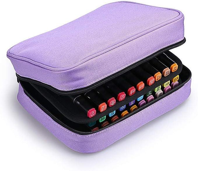 Estuche para 40 rotuladores de gran capacidad con compartimentos para lápices labiales, bolsa de almacenamiento para rotuladores, organizador de bolsas, color morado: Amazon.es: Oficina y papelería
